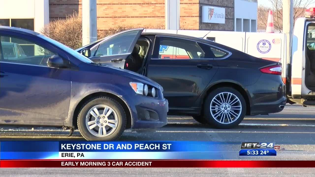 One injured in two-car crash at Keystone Drive and Peach Street