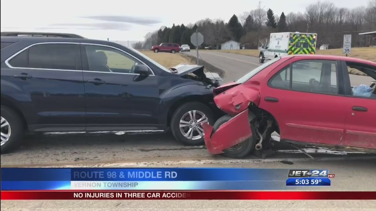 Three-vehicle accident on Route 98 in Vernon Township