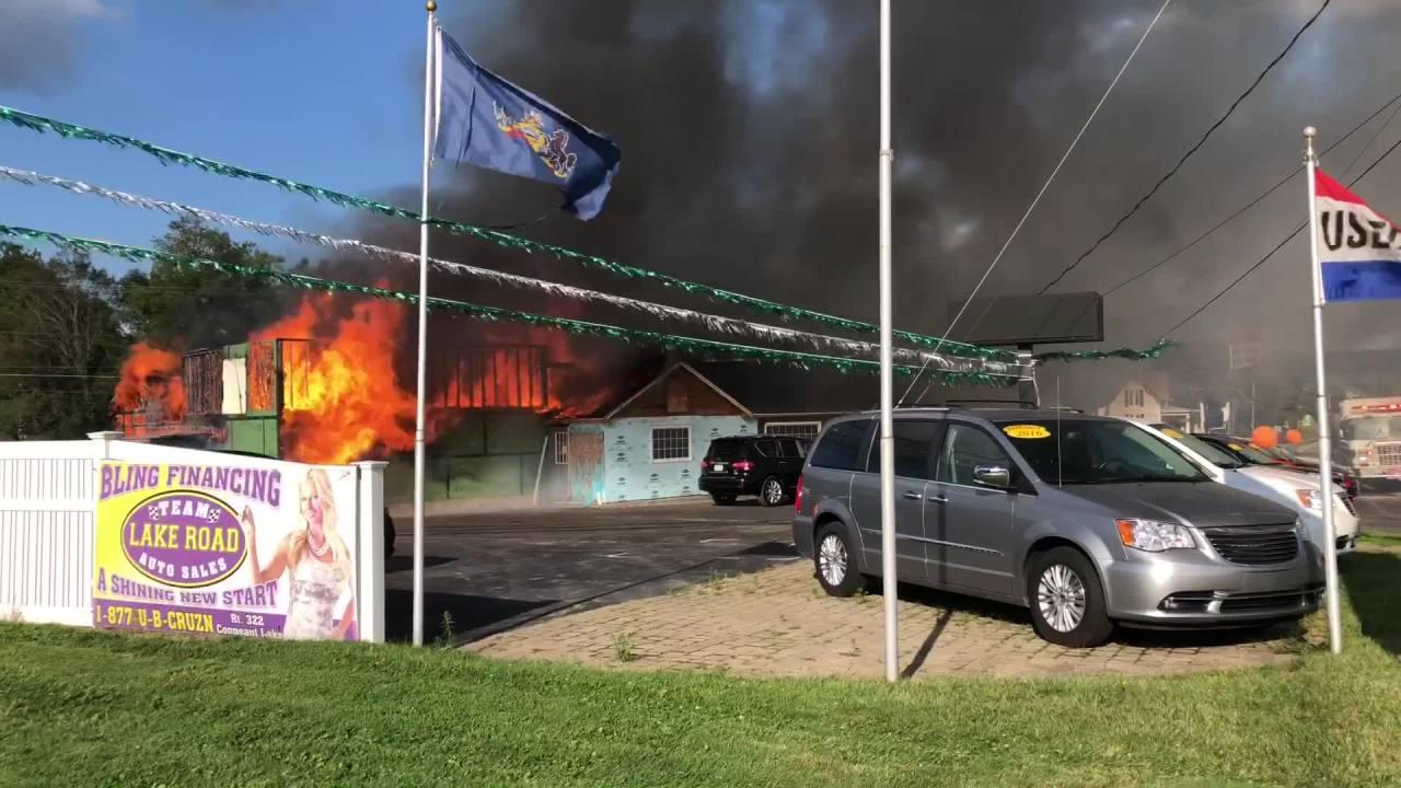 Fire destroys Lake Road Auto Sales in Conneaut Lake | WJET