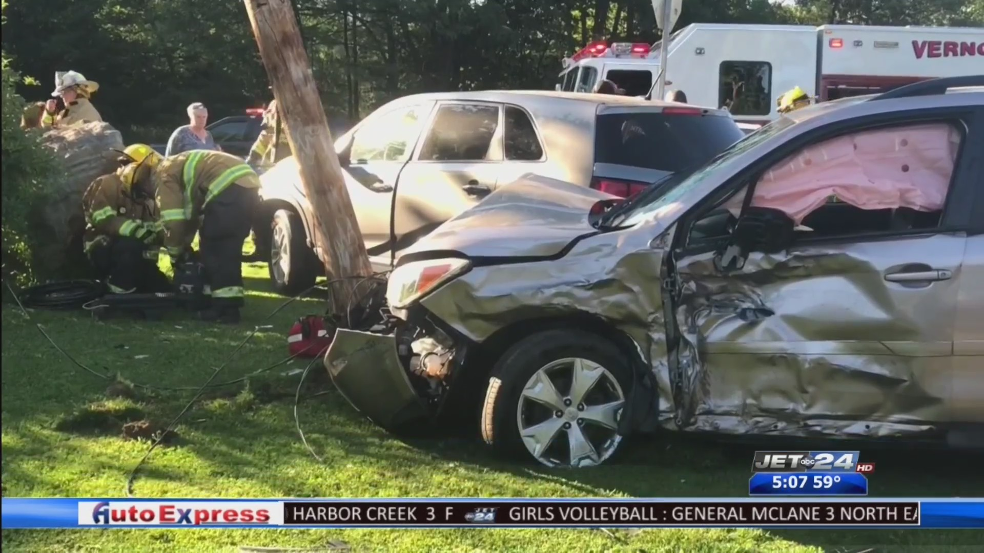 Three people injured in a three vehicle accident in Vernon