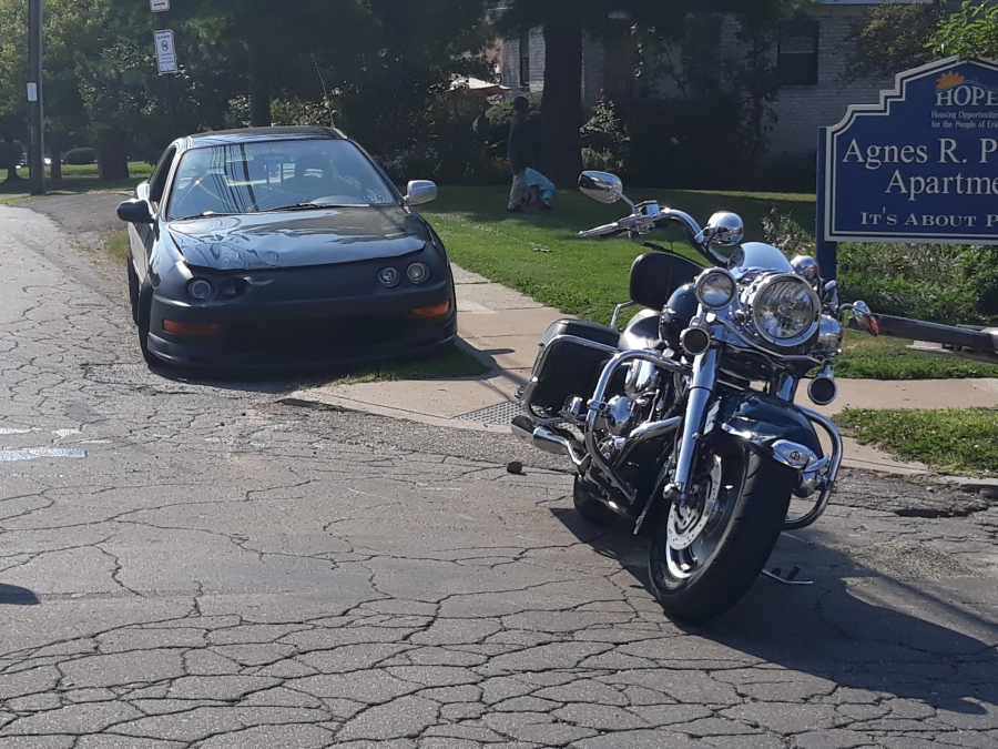 An accident between a car and a motorcycle left one man in